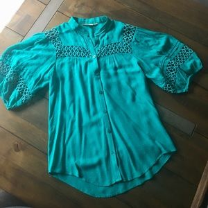 Teal Anthropologie top